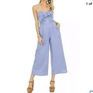 ASTR Mara Neckline Cropped Jumpsuit Linen Size L